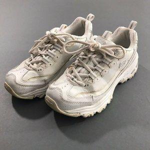 Sketchers Womens D-Lites White Sneakers, 6